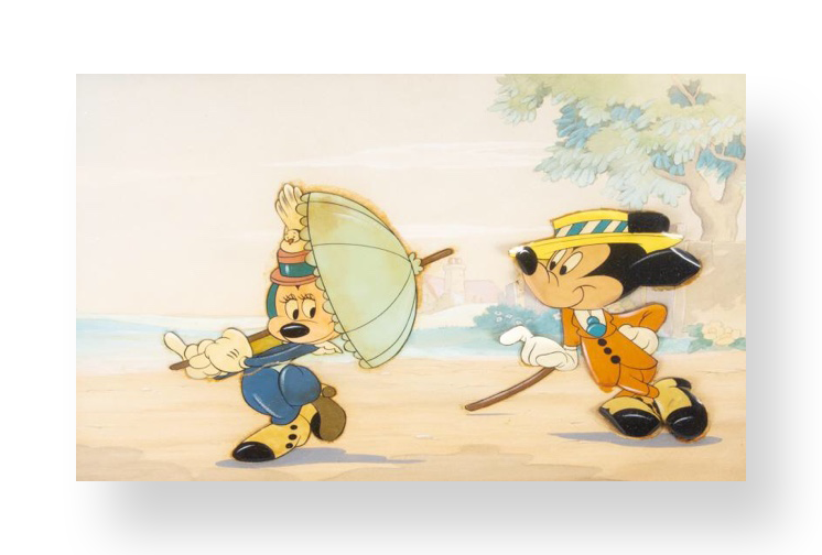 "Mickey and Minnie  ""The Nifty Nineties ""  Original vintage production cel set up on hand painted master production background  8.5 x 11.75 inches  1941  Walt Disney Studios"