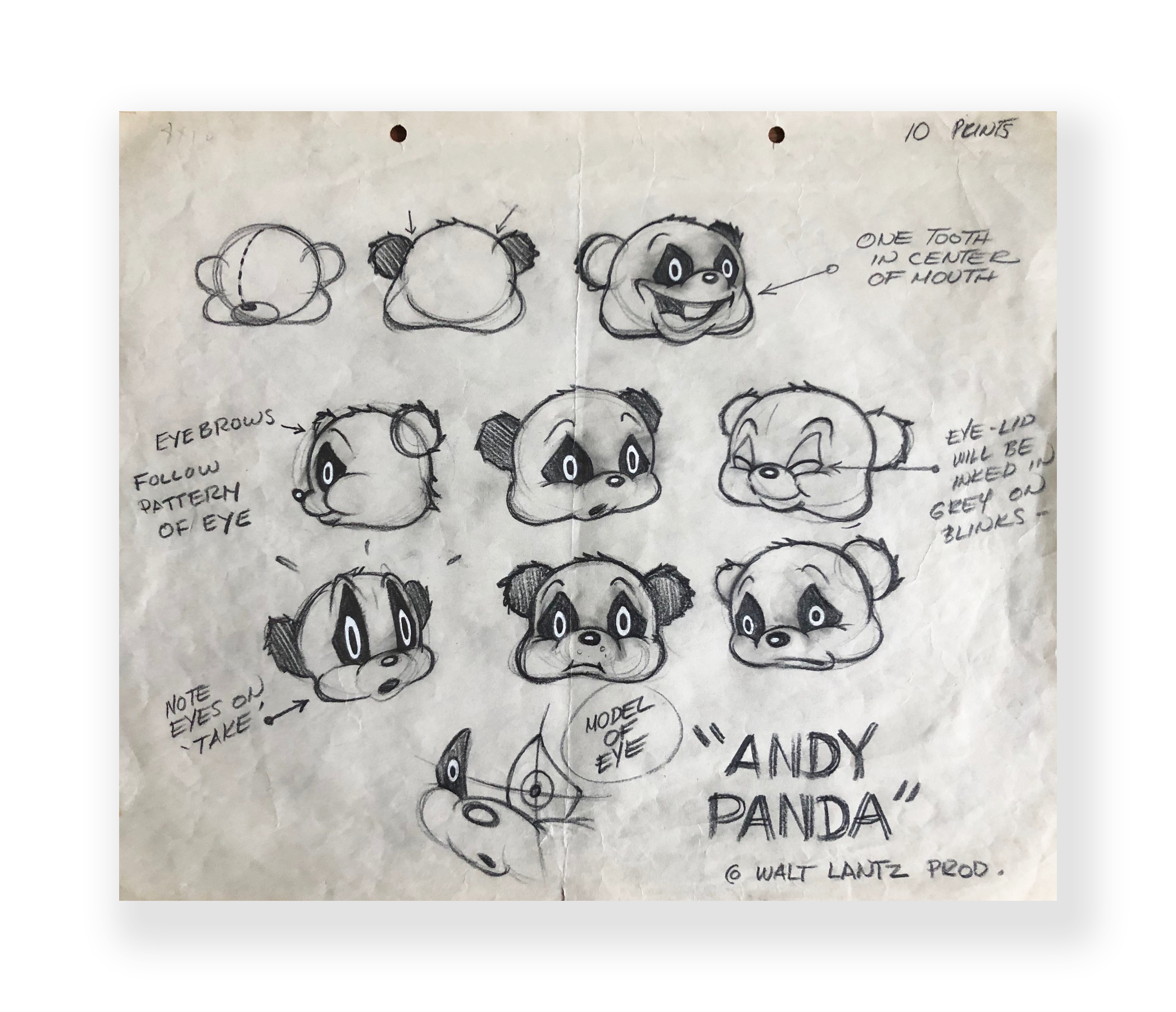 Andy Panda  Production Model sheet  Original vintage illustration on paper  10.5 x 12 inches  Walter Lantz Studios  Circa 1940's