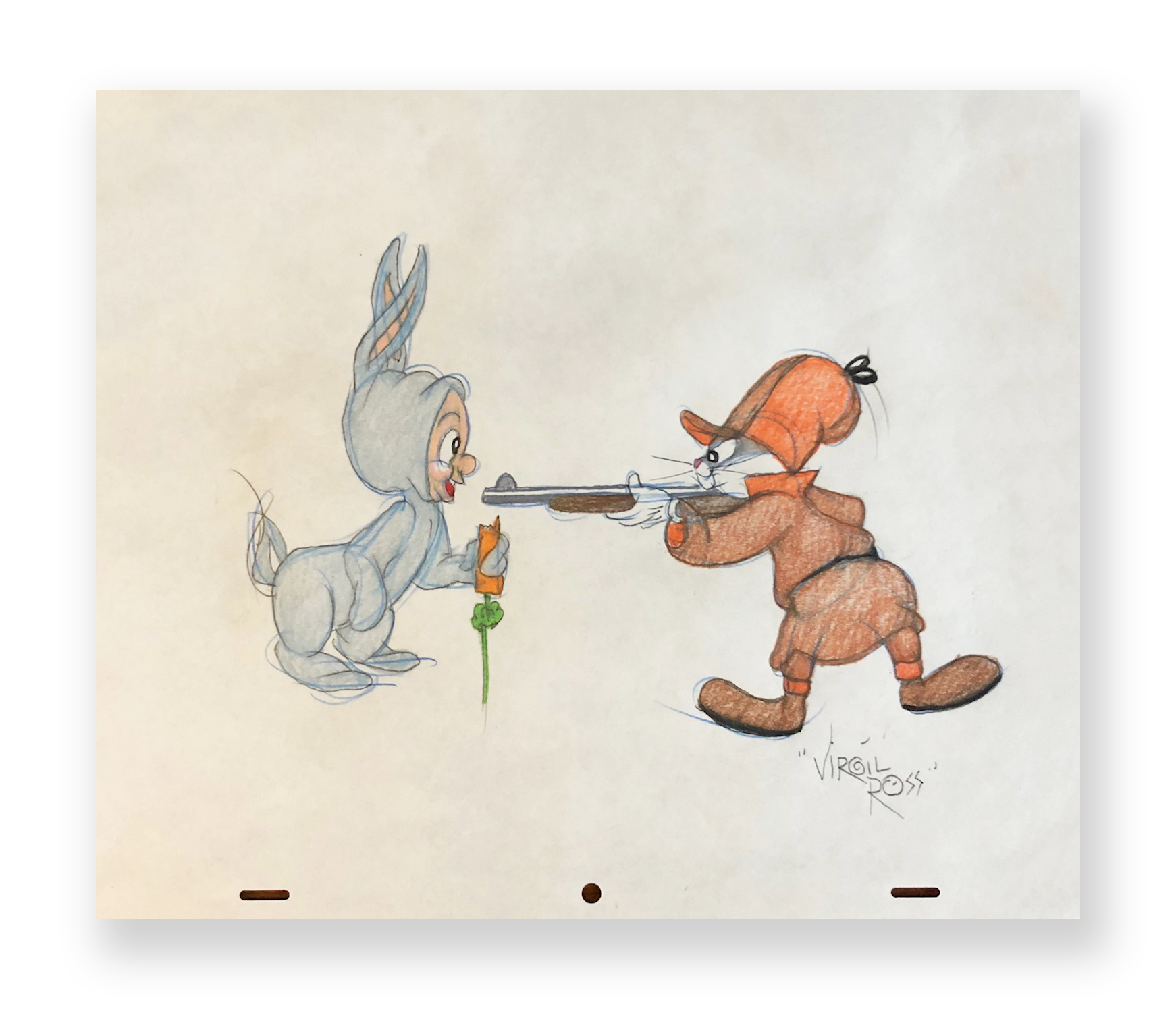 "Virgil Ross  Bugs and Elmer  ""It's Still Rabbit Season""  Original illustration  Color pencil on animation paper  10.5 x 12 inches  Circa 1990"