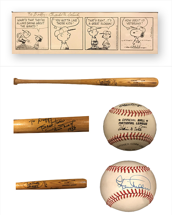 Peanuts 4 Panel Published Daily comic strip  Created for the San Francisco Giant's Magazine  Ink on board  1986  22.5 x 6.5 inches  Comes with a signed Willie Mays official Baseball Bat dated 1986 and a signed Baseball by MVP player Kevin Mitchell  Duffy Jennings was the Vice President of Public Relations for the Giants and founded the Magazine