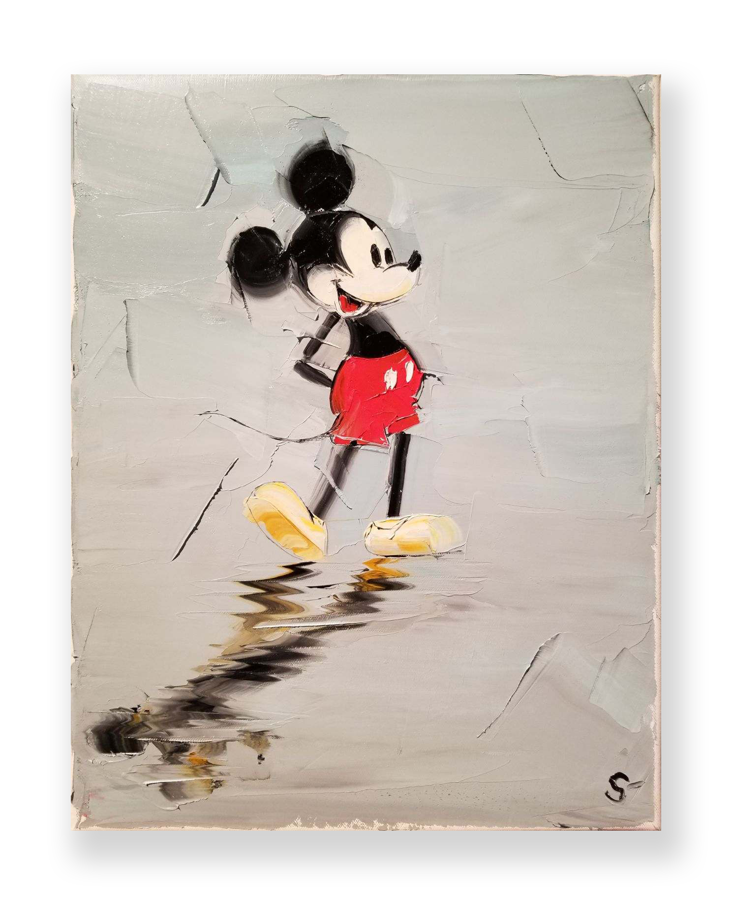 "Chuck Joseph  ""Vintage Mickey""  Original oil  Palette knife on canvas  18 x 14 in."