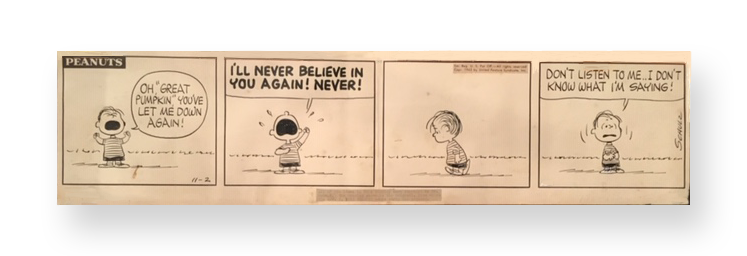 Charles Schulz  Peanuts 4 Panel Published Daily Comic Strip  The Great Pumpkin  Ink on board  November 2, 1963  27.5 x 7 inches