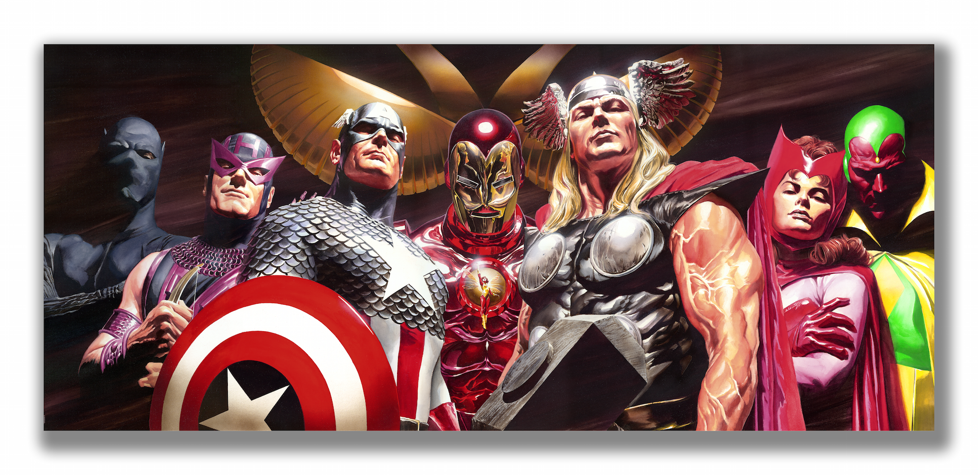 Avengers Assemble   Alex Ross  29 x 17 inches  Giclee on Paper  Edition of 250  *Signed by Alex Ross