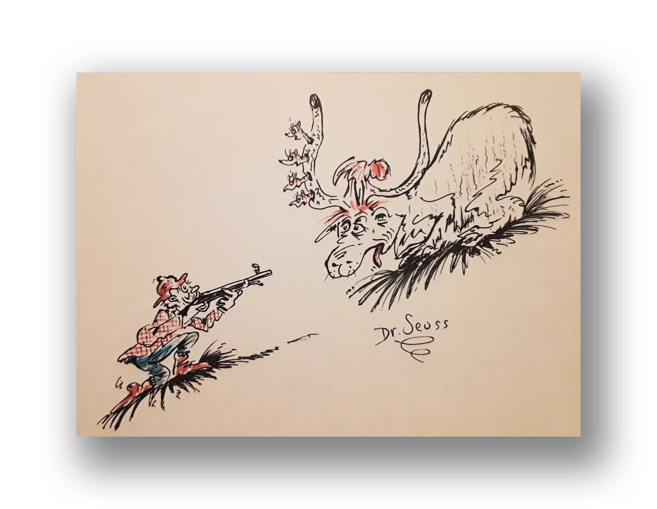 Thidwick the Big Hearted Moose  Reference - similar illustration as found mid-book Ink and watercolor on paper 6.5 x 8.5 inches Late 1950's - Early 1960's