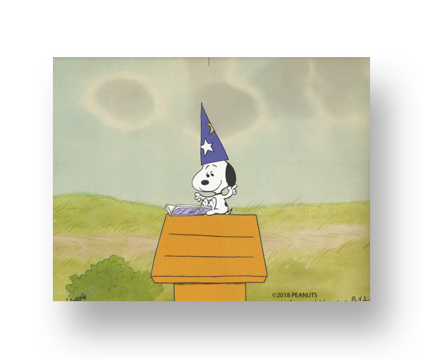 "Snoopy From ""It's Magic, Charlie Brown""  An original production cel set-up with matching animator's drawing(s)   INQUIRE"