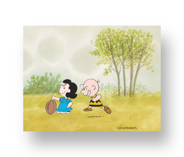 "Charlie Brown and Lucy from ""It's Magic, Charlie Brown""  An original production cel set-up with matching animator's drawing(s)   INQUIRE"