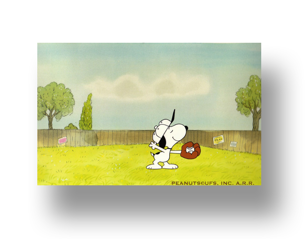 "Snoopy From ""It's Spring Training, Charlie Brown""  Original Production Cel SetUp with Animator's original production drawing(s)   INQUIRE"