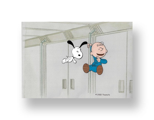 "Snoopy and Charlie Brown in ""THIS IS AMERICA: THE NASA Space Station""  An original production cel set-up with matching animator's drawing(s)   SOLD"
