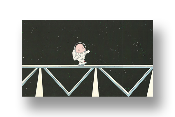 "Charlie Brown in ""THIS IS AMERICA: THE NASA Space Station""  An original production cel set-up with matching animator's drawing(s)   INQUIRE"
