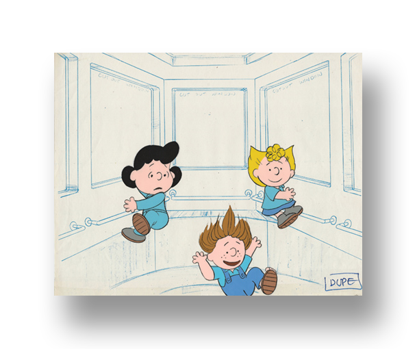 "Lucy, Sally, and Peppermint Patty  in ""THIS IS AMERICA: THE NASA Space Station""  Original Production Cel set-up with matching animator's drawing(s) mounted on the studio dupe blue line layout   INQUIRE"