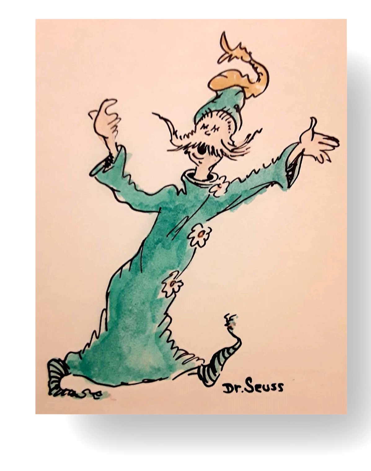 "Mr Greene, Chants his Merry Theme : ""Come along there's so much of the world yet to be Seen""  Dr. Seuss Original illustration  Ink and watercolor on paper 6.5 x 7 inches Circa mid 1960's Signed Dr. Seuss lower right  INQUIRE"