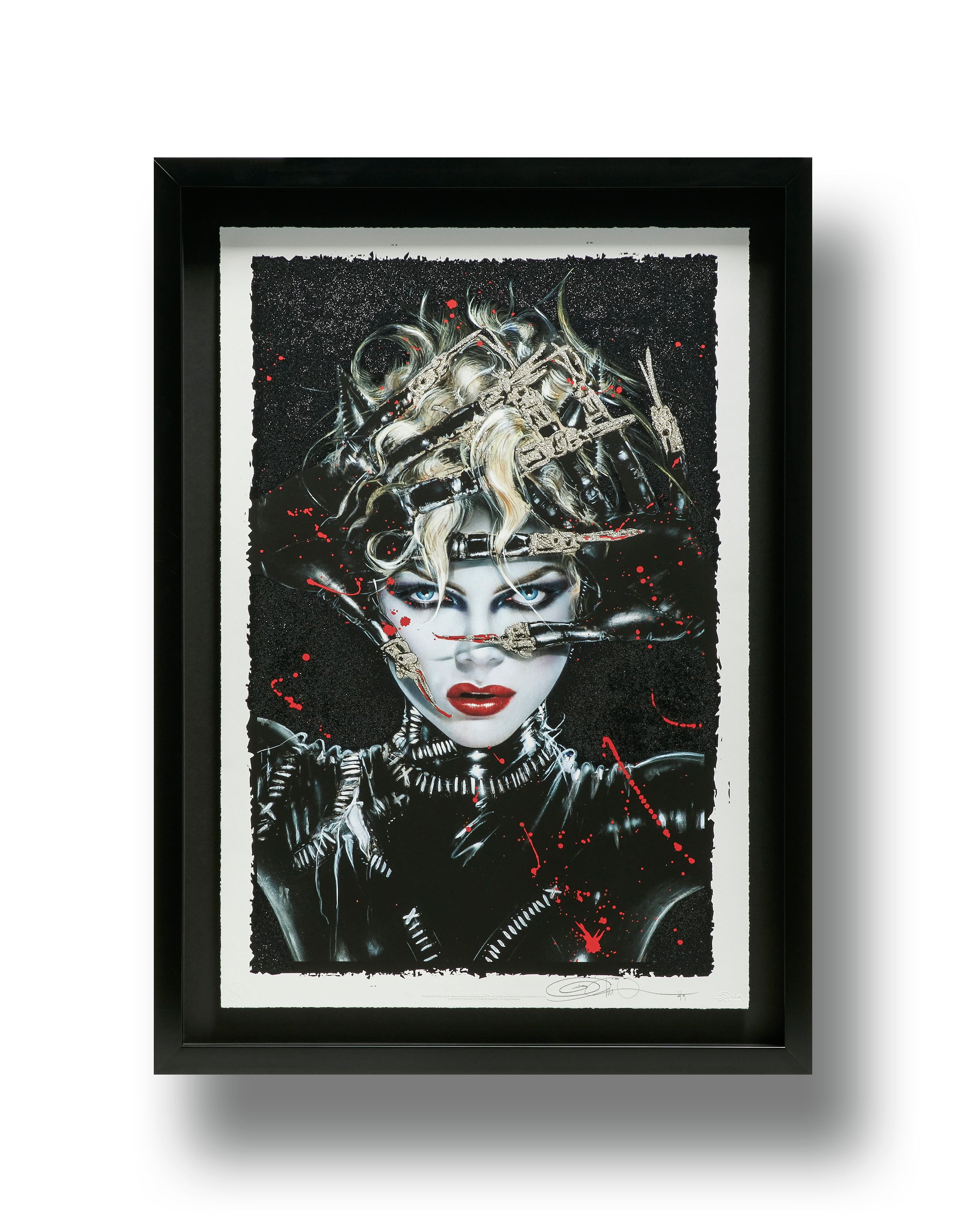 """""""Chat Noir""""  2019 XL Deluxe Diamond Dust Fine Art Print  Hand-embellished silkscreen and diamond dust  40 x 27 inches (unframed) 47 x 34 inches (framed)   INQUIRE"""