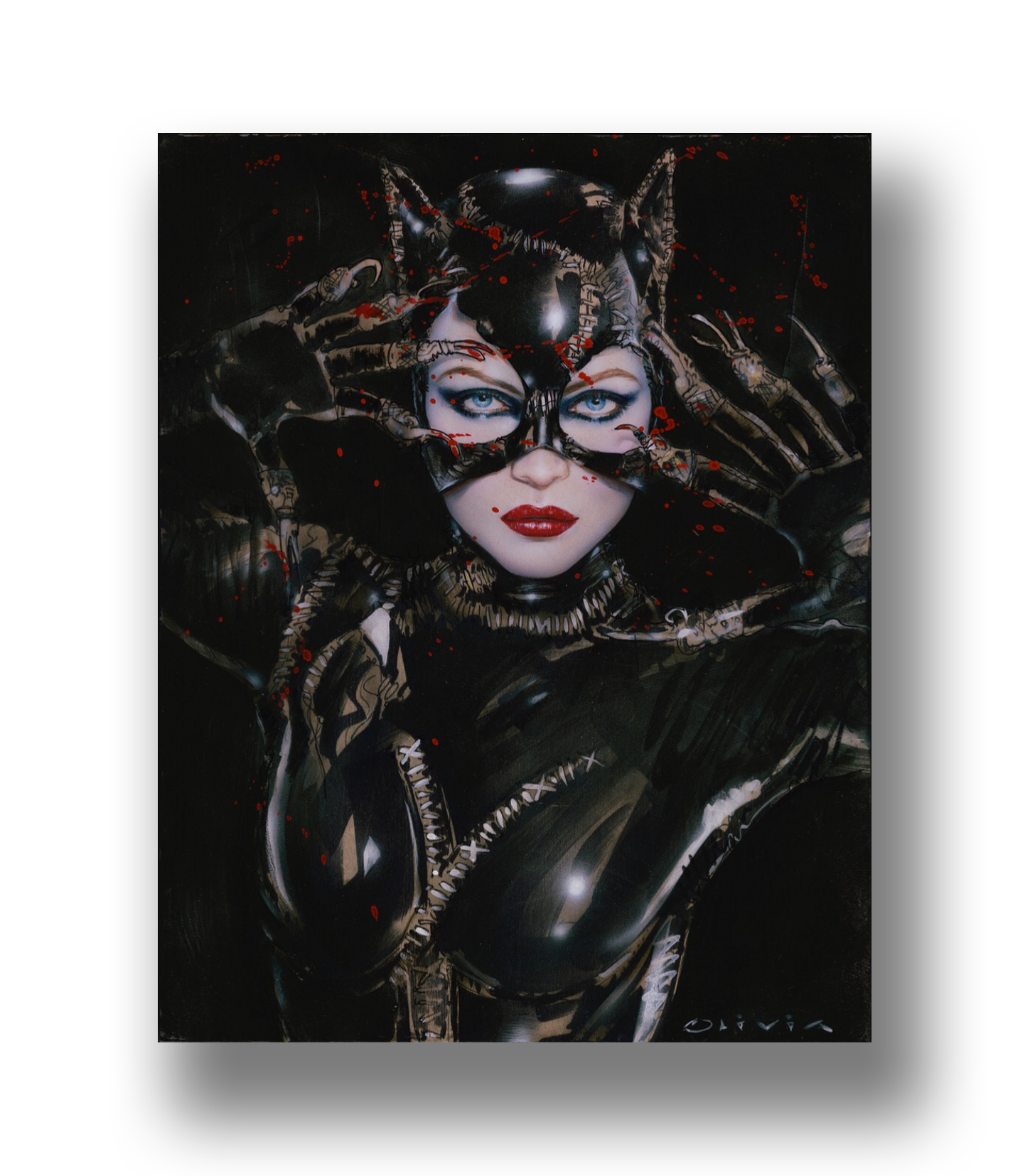 """""""Chat Noir Variant""""   2019 Acrylic on Maple Wood Panel  14 x 11 inches (framed) *Model: Michelle Pfeiffer    INQUIRE"""