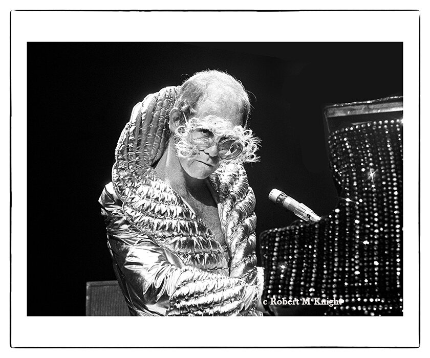 """""""Owl""""   Robert Knight Image of Elton John 1975 Honolulu, Hawaii Photograph 30 x 40 inches Edition of 99    INQUIRE"""