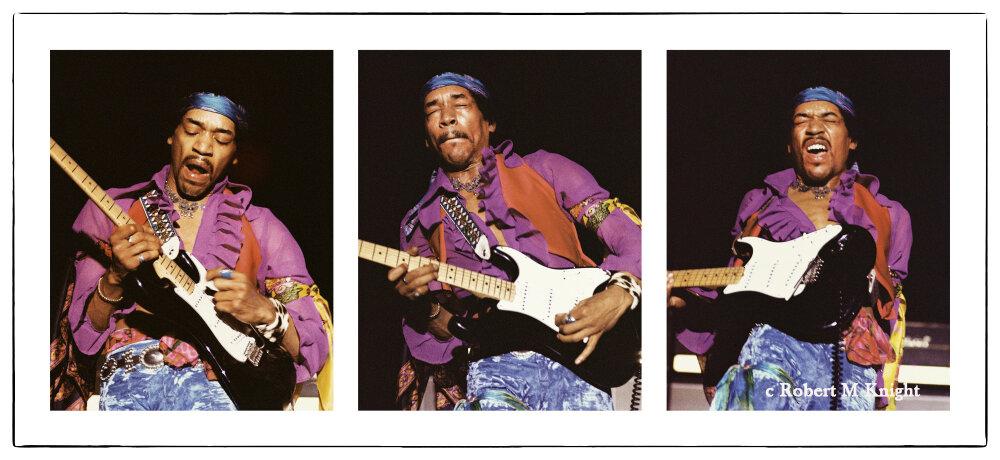 """Waikiki Shell-2""   Robert Knight Image of Jimi Hendrix 1969 Honolulu, Hawaii 23 x 50 inches Edition of 99    INQUIRE"