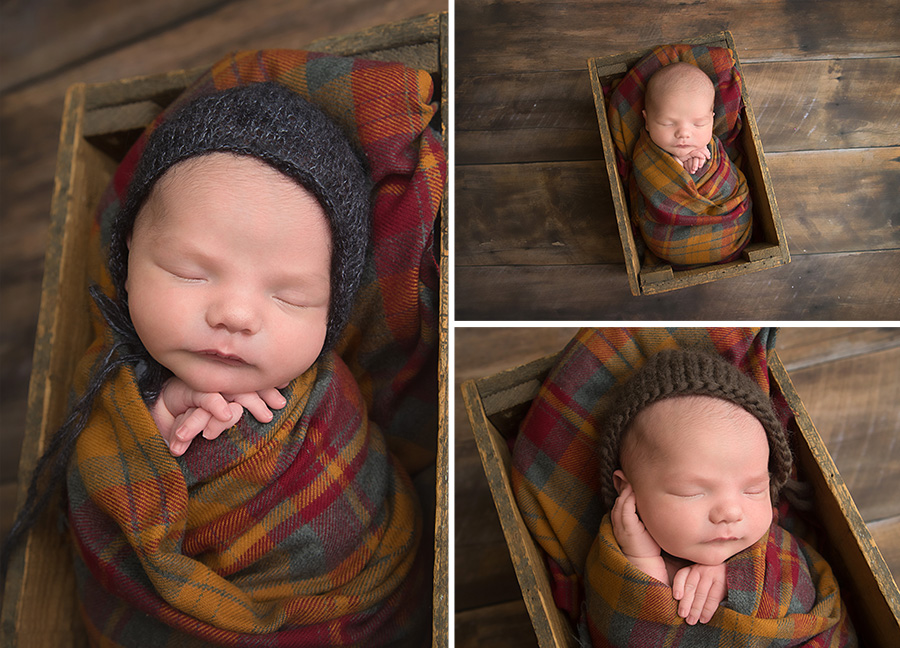 st-louis-newborn-photographer-baby-boy-wrapped-in-fall-plaid-in-crate-wearing-a-bonnet.jpg