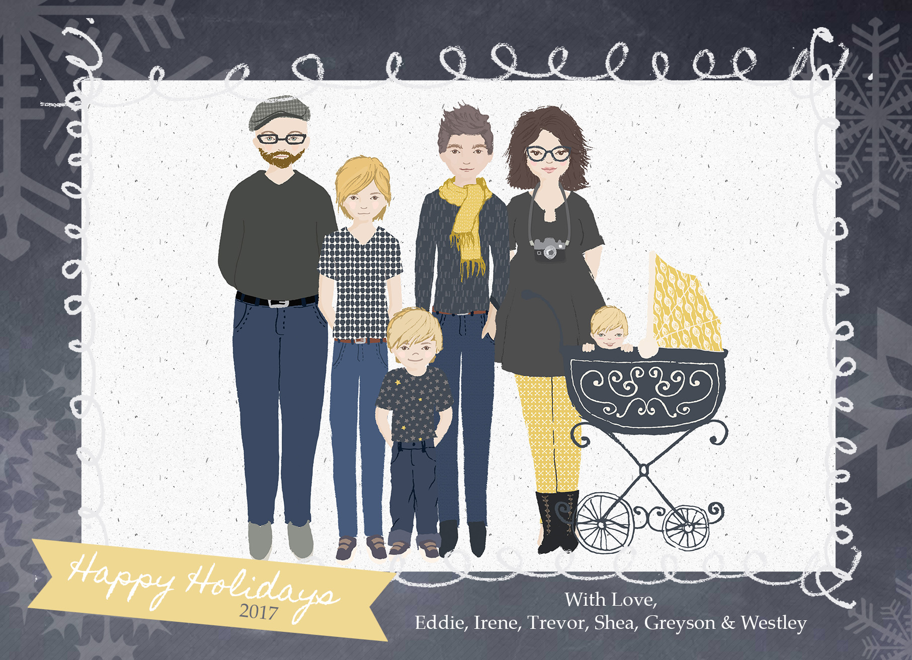 (personalized digital family illustrations available for purchase, please  contact  for details!)