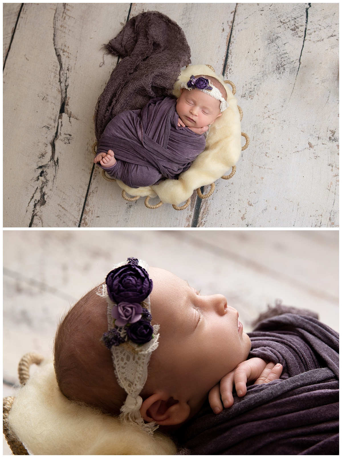 st-louis-newborn-photographer-baby-girl-wrapped-in-purple-on-rustic-cream-floor.jpg