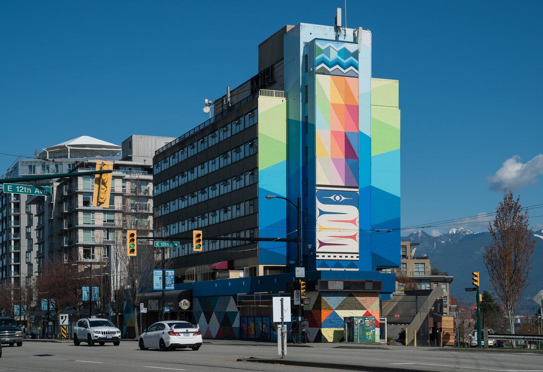 2nd of 3 by xʷməθkʷəy̓əm (Musqueam) weaver, graphic designer and artist, Debra Sparrow for the  2019 Vancouver Mural Festival. Loco: 12th & Kingsway on the (former) Biltmore Hotel/ (current) Raincity Transitional Housing Program.