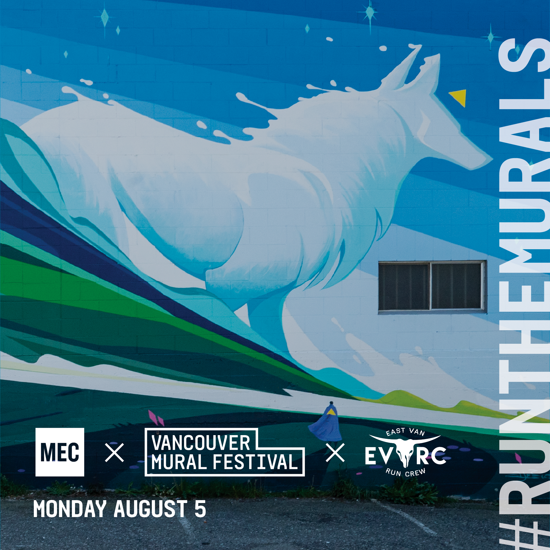 Cost: FREE   MEC and Vancouver Mural Fest have partnered up to create a unique running experience called #RunTheMurals. Together we have curated a running route that highlights some of the city's best public art.  Join MEC and  East Van Run Crew  on Monday, August 5th for an ~7K run that explores the beautiful streets and alleyways of Mount Pleasant and discover the art and culture that is right here in our backyard. Post-run we will be hanging out at the legendary Brewhall for some light snacks and give-aways!  This run will be replacing the regular East Van Run Crew meet-up.  Register here:  https://events.mec.ca/node/268271