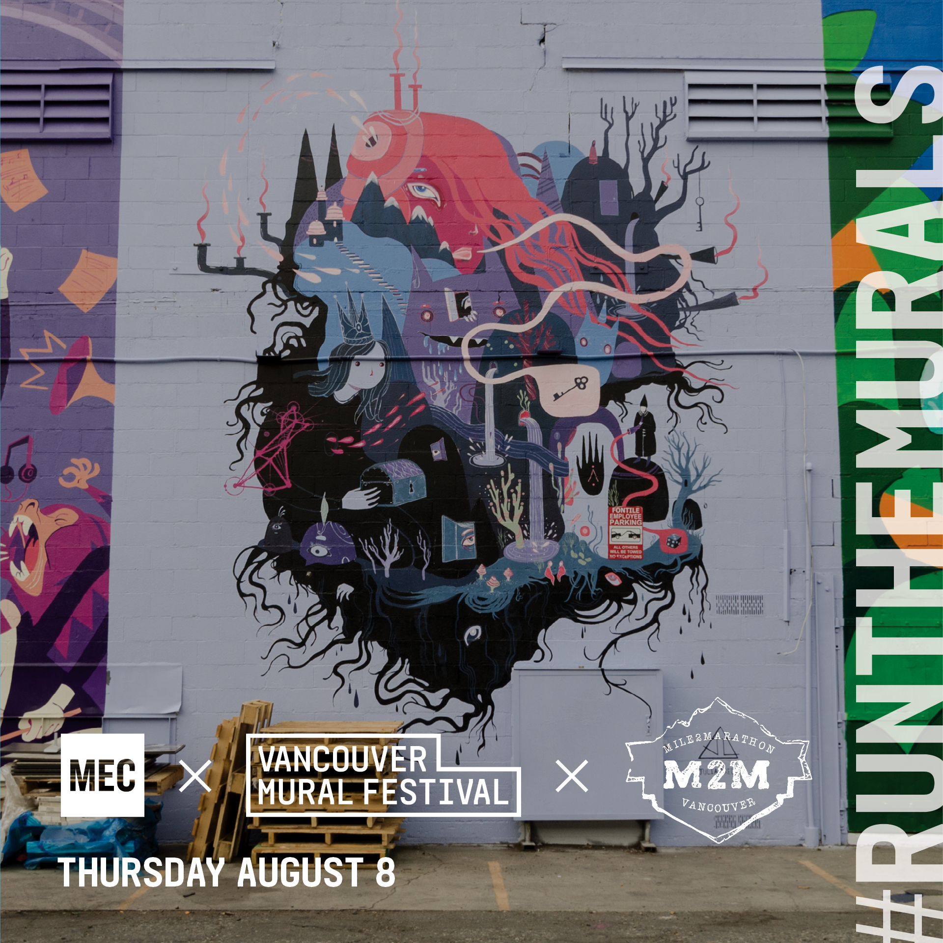 Cost: FREE   MEC and Vancouver Mural Fest have partnered up to create a unique running experience called #RunTheMurals. Together we have curated a running route that highlights some of the city's best public art.  Join MEC and  Mile2Marathon  on Thursday, August 8th for an ~7K socail run that explores the beautiful streets and alleyways of Mount Pleasant and discover the art and culture that is right here in our backyard. Post-run we will be hanging out at the legendary Brewhall for some light snacks and give-aways!  This run is not a usual Mile2Marathon workout run, instead it is inteaded as a fun/social run.  Register here:  https://events.mec.ca/node/268276