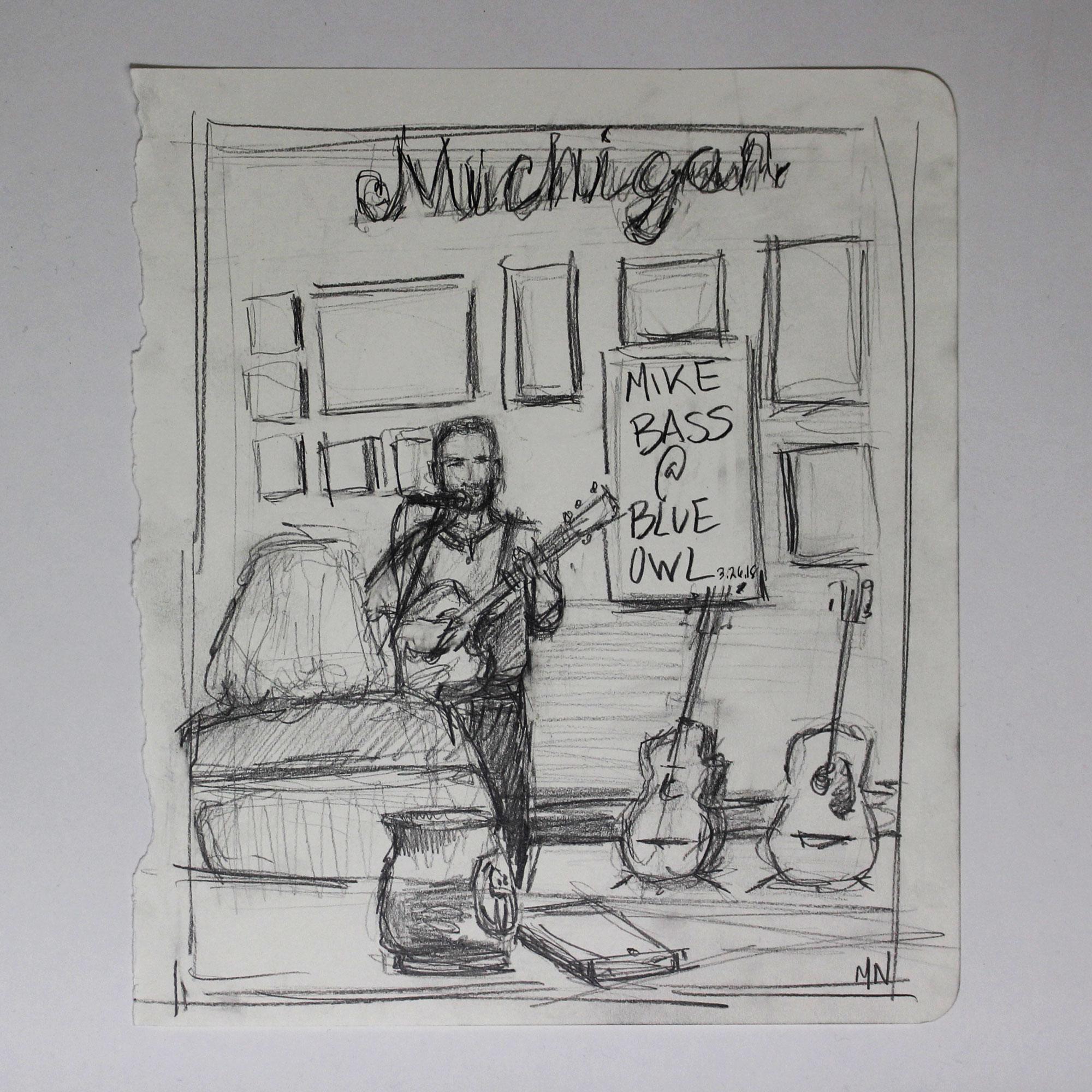 Melanie's sketch of me performing at Blue Owl Coffee!
