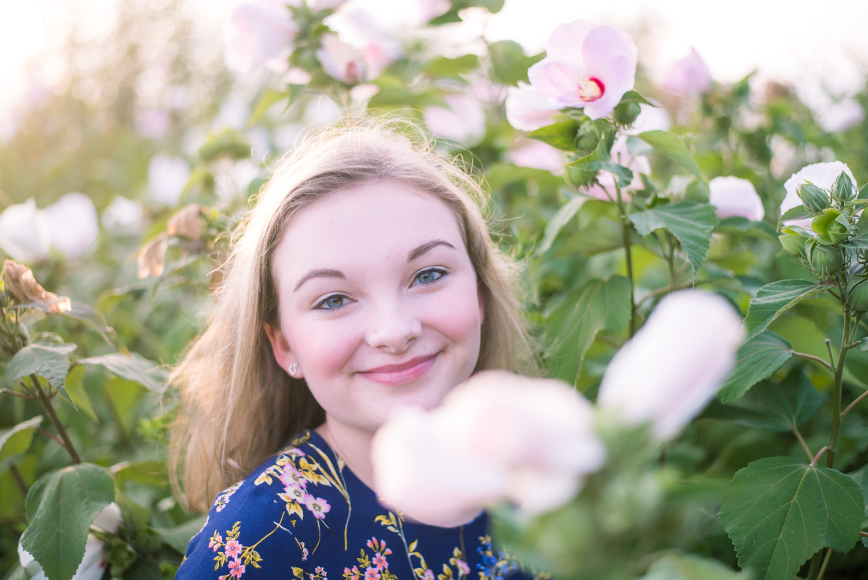 Feminine Senior Portraits with flowers at  Sunset Lake Braintree MA (13 of 1).jpg