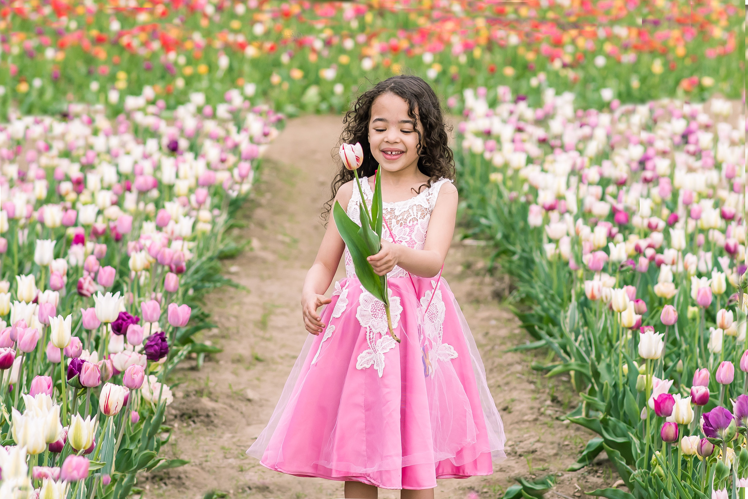 Candid portraits of girl picking tulips