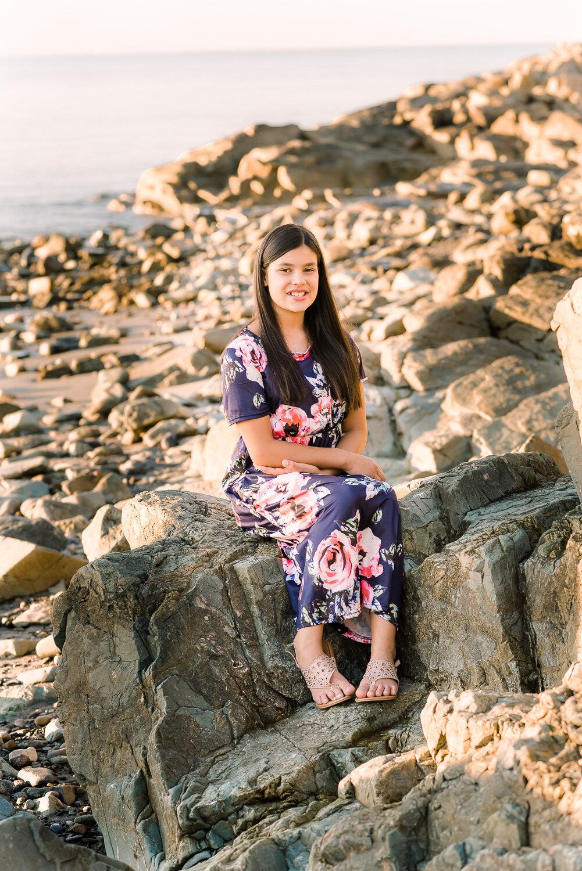 Pre-teen Girl in Blue Floral Dress, black long hair at Nantasket Beach Hull  (2 of 6).JPG