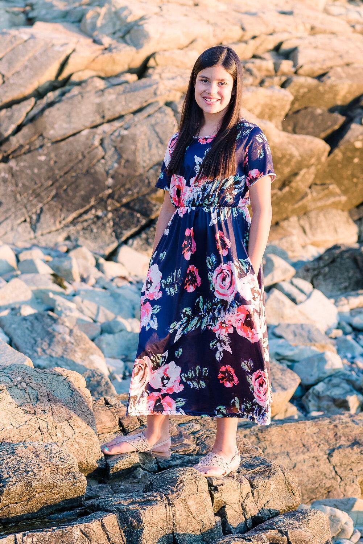 Pre-teen Girl in Blue Floral Dress, black long hair at Nantasket Beach Hull  (4 of 6).JPG