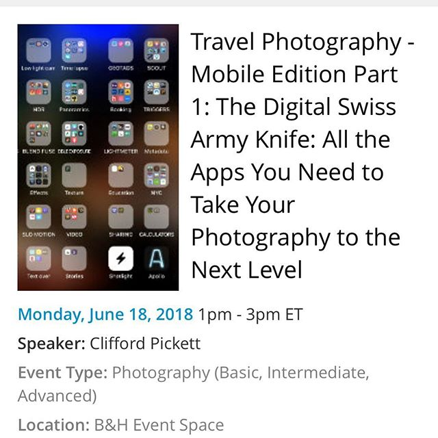 Come join me for day 3 of my travel photography series @bhphoto this afternoon starting at 1pm.  The first preso is on all the apps available to photographers to turn your phone into the most important tool in your kit. Come join down @bheventspace
