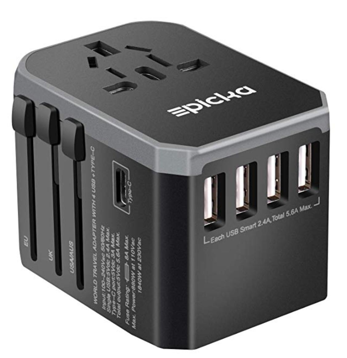 EPICKA Universal Travel Adapter 4 USB & 1 Type-C -