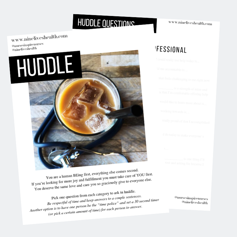 Huddle Questions - Get to know your co-workers and find out more about them as human BEings, as well as what they may need help with or where you can offer support. Never underestimate the power of asking the right question to change someone's day.