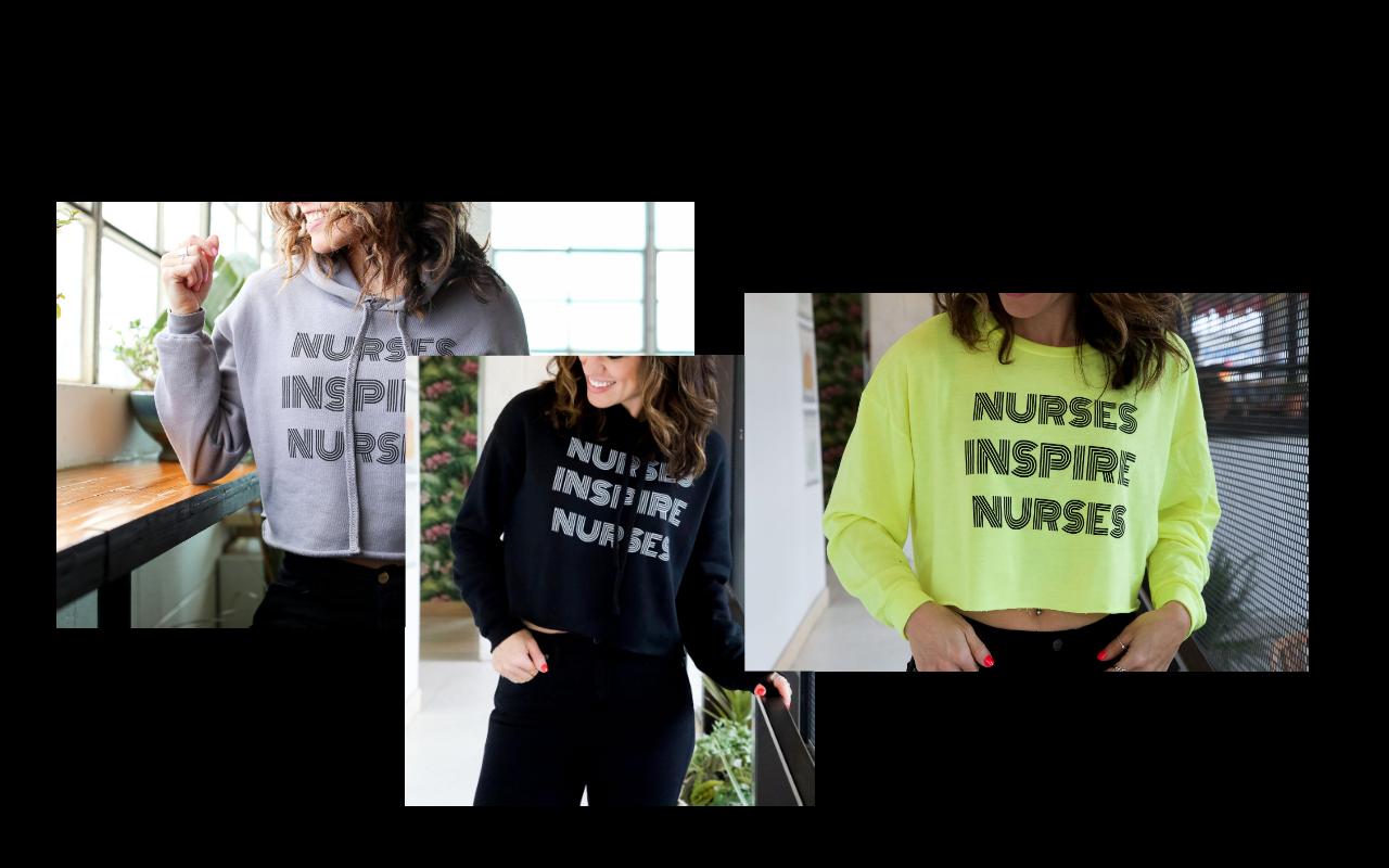 nurses inspire nurses, nine lives health, nurses inspire nurses crop sweater, neon sweater, nurse life, detroit nurse, metro detroit nurse, nursing student, nurse life, new nurse