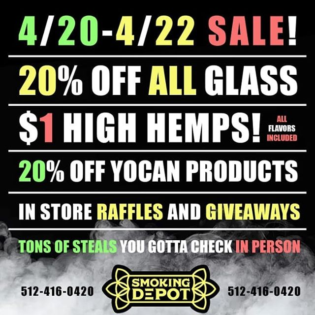 Happy Holidaze to all y'all! The team at the depot wants to celebrate by hooking up all of awesome custies this entire weekend! . 20% off all glass, with a huge selection of pieces getting up to 40% off! . 1$ High Hemps means boxes are just 25 bucks! . And for everyone trying to take a concentrate pen home we're giving an extra 20% off Yocan products! . In store raffles and giveaways (yes, we just giving away random stuff all day). Come check us out on your way to or from @austinreggaefestival and see how we celebrate 4/20 ! . . #holidaze #austintx #atx #420 #710 #austinreggaefest #78704 #smokingdepot #texas #yocan #atxglaas #atxlocal #shopsmart #getlifted #wesmokethesame #austinreggaefestival #texasglass #errl #texasart #stayblunted #glassofig #bestofglass