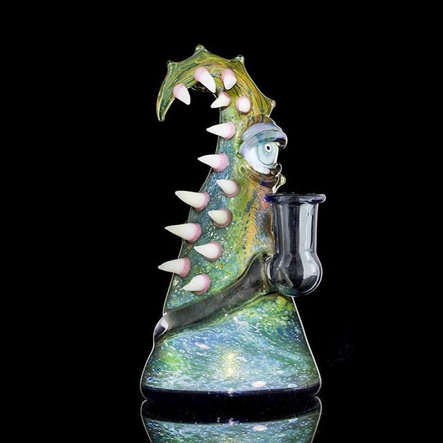 @saltglass @nathan_miers collab we were fortunate enough to grab at the @armadilloartglassinitiative fundraiser for @mealsonwheelscentraltexas. Come in to get a closer 👀. #saltglass #n8miers #nathanmiers #glassforagreatercause #spacemonster #atx 📷 by @_sgsphotography