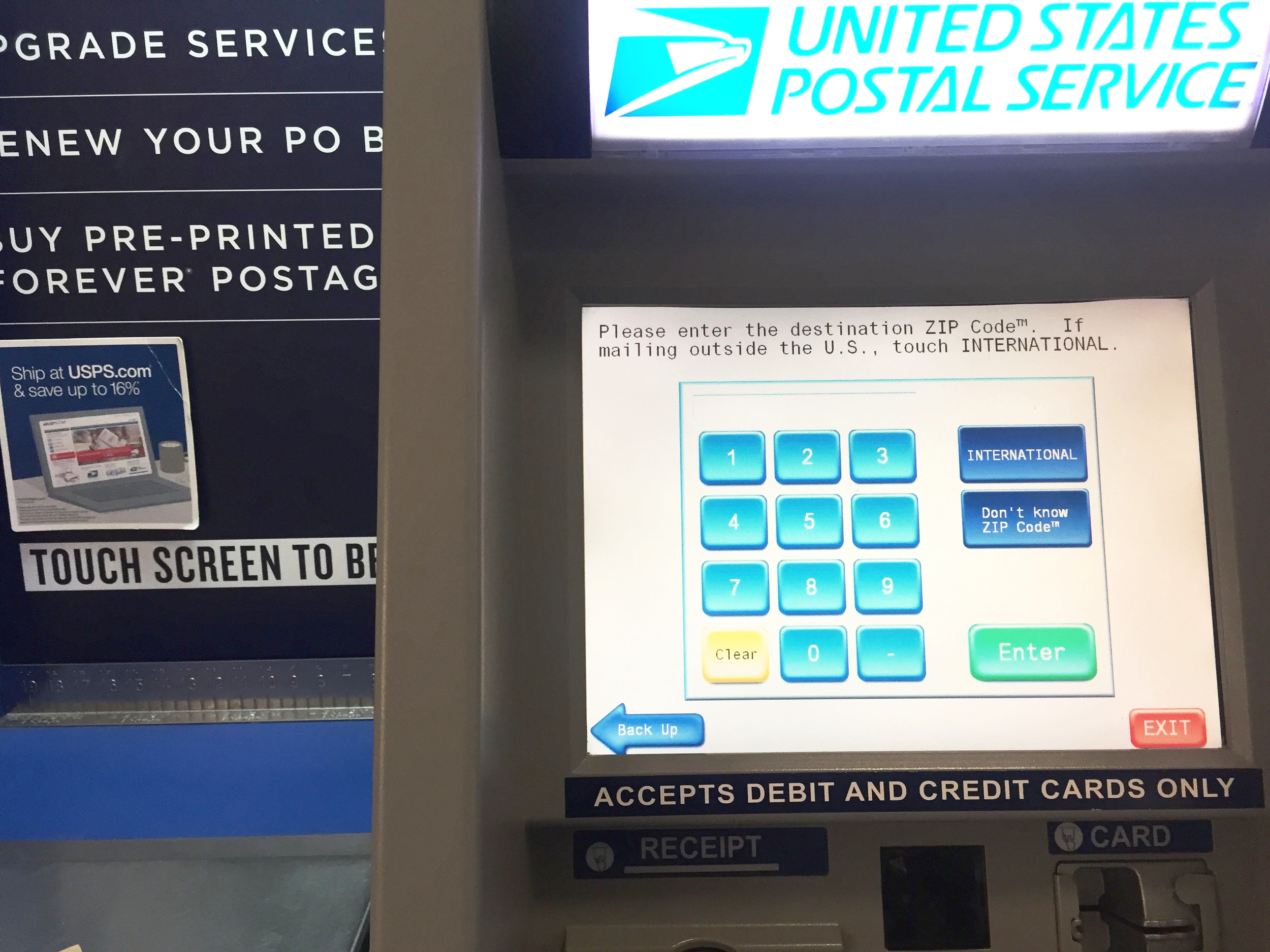A post office self-service machine. UI circa 1982, still in production.
