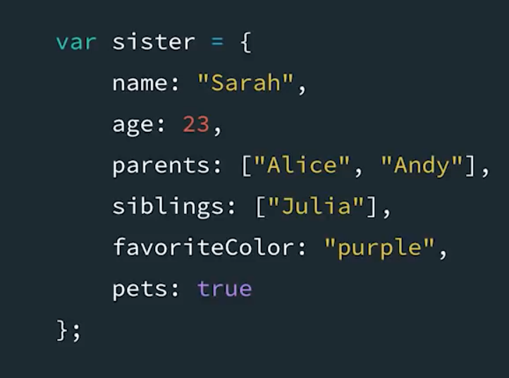 Example of creating an object to store multiple variables about a person. Now you can refer to the object, and all of the descriptive variables about the person are build into the object.