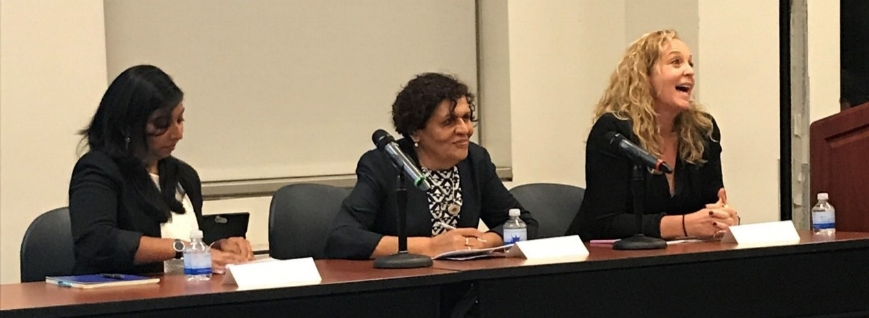 (Left to Right) ASPIRE's Drs. Dasgupta and El-Bassel join a panel with Tripodi Lecturer, Liz Pender (USAID),at the School of Social on October 2nd.