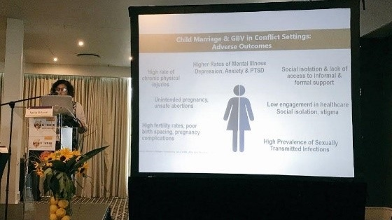 Photo of Dr. El-Bassel presenting at the Ending Gender Inequalities: Evidence to Impact Conference in South Africa (October 2018)