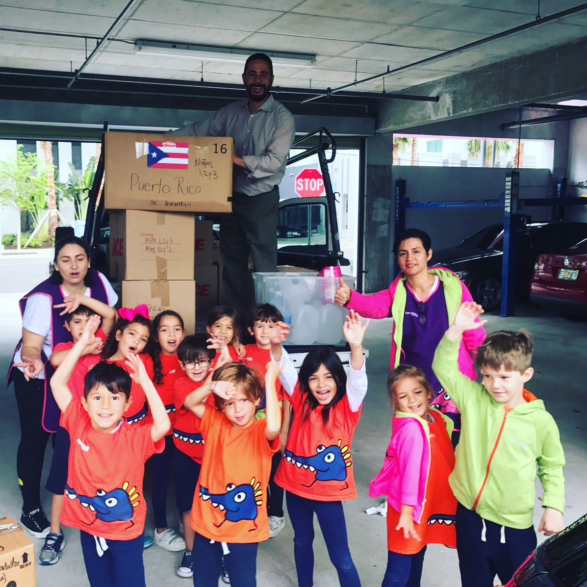 Sending boxes full of love to Puerto Rico. Good job Kinder class.