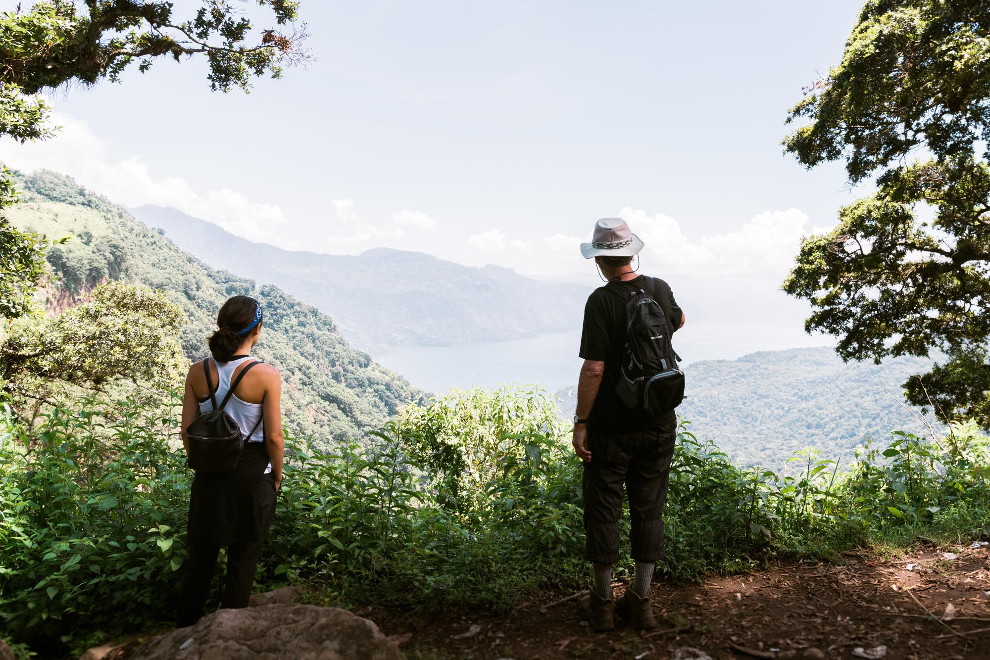 2 People hiking at lake Atitlan in Guatemala