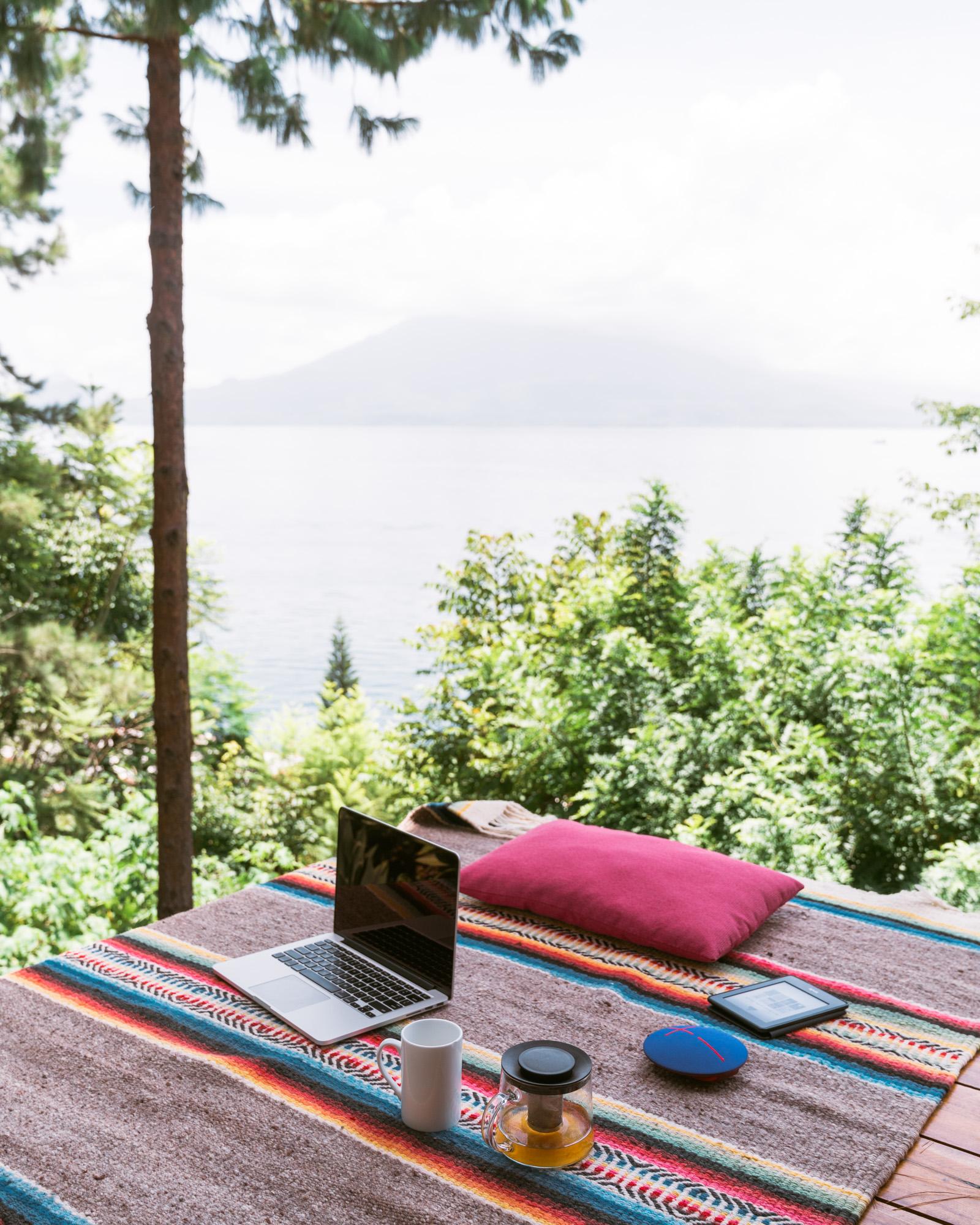 Working with at view at Lake atitlan