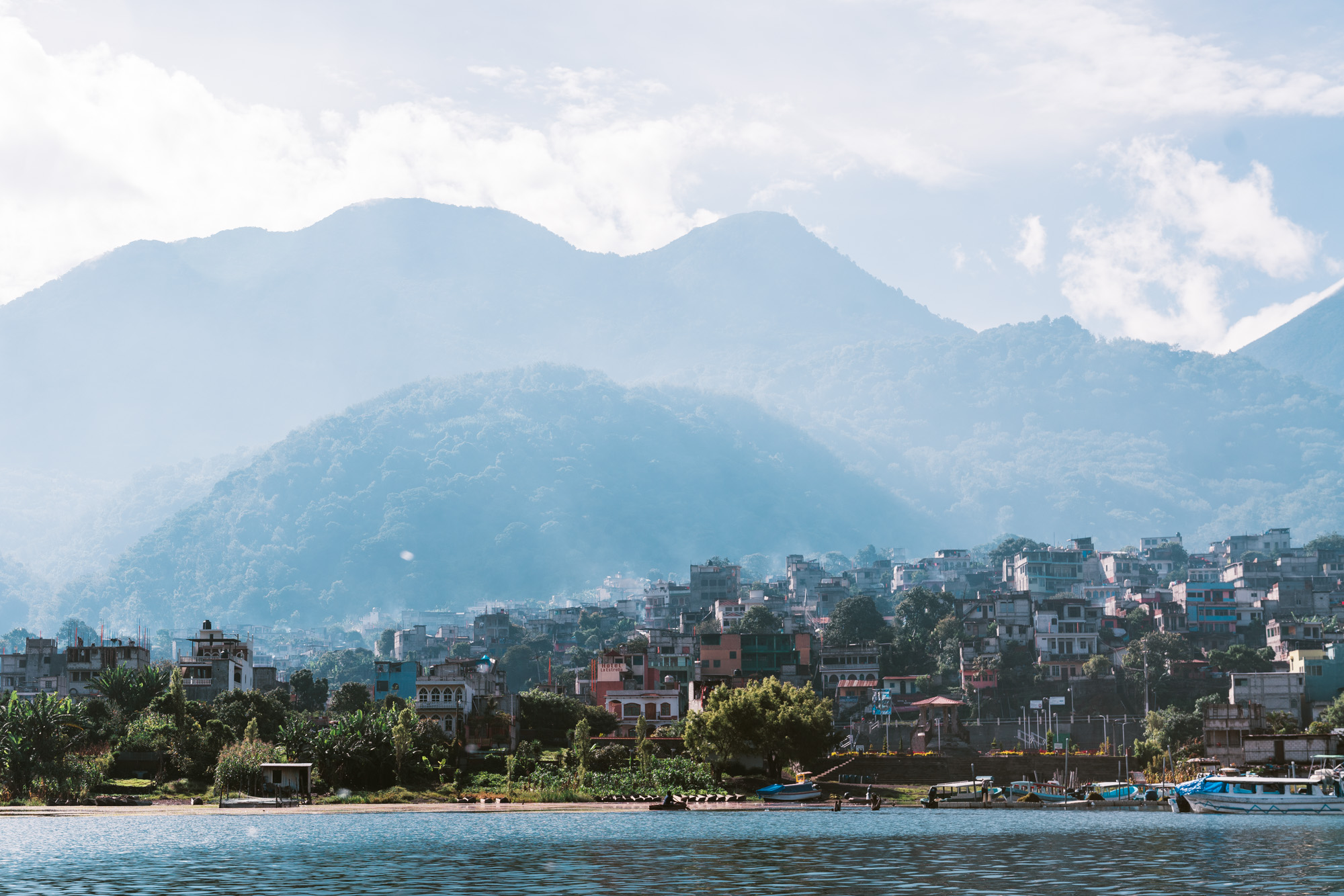 View from the water towards the city Santiago at Lake atitlan
