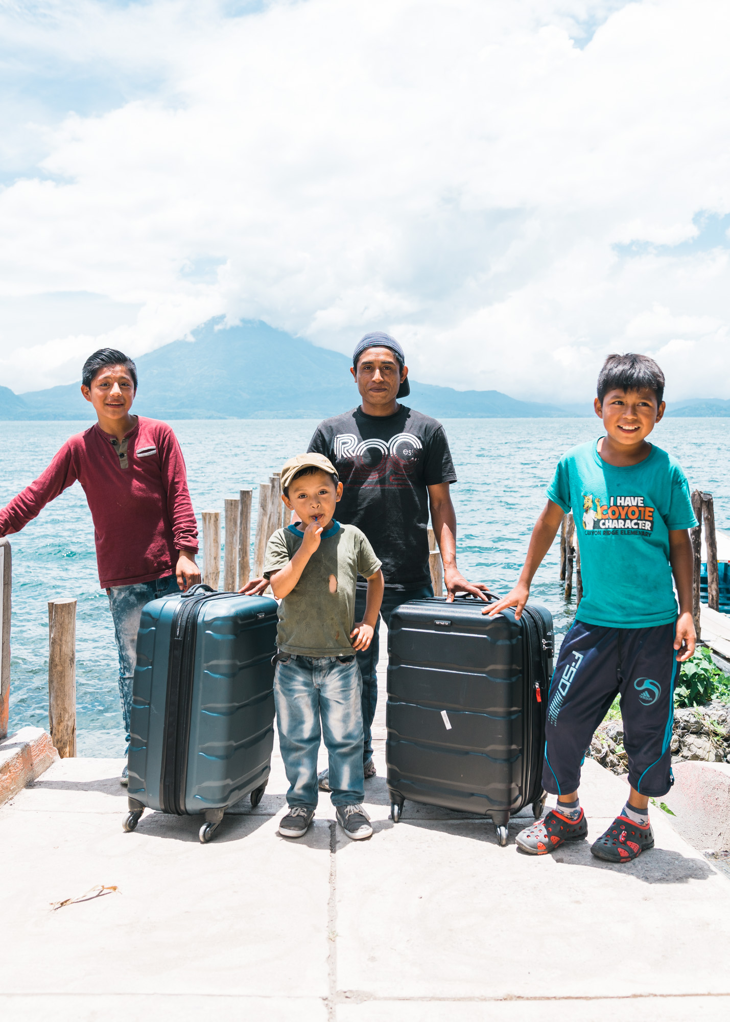 Venturo and his posse of niños in Jaibalito at lake atitlan