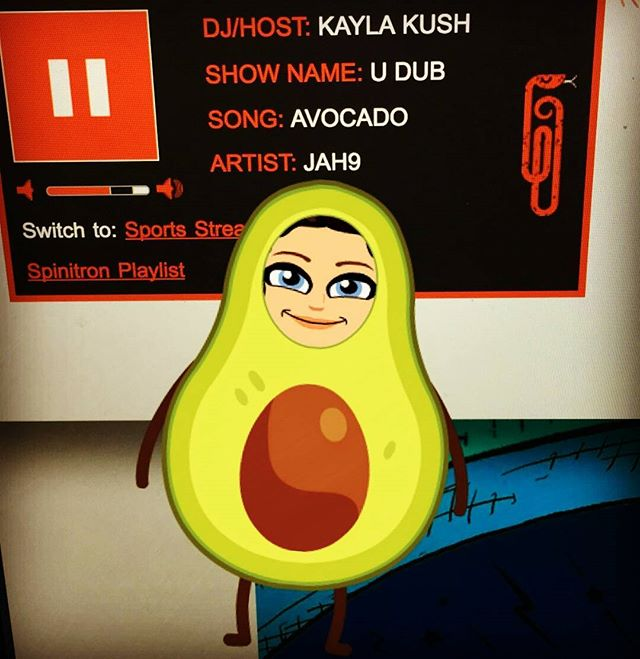 Loved this #snapchat from my #sistren @kanngaa while she tuned in to my radio show! #Jah9 #avocado #reggaemusic #radioshow #wsum #tunein #reggaemusic #djkaylakush #udub