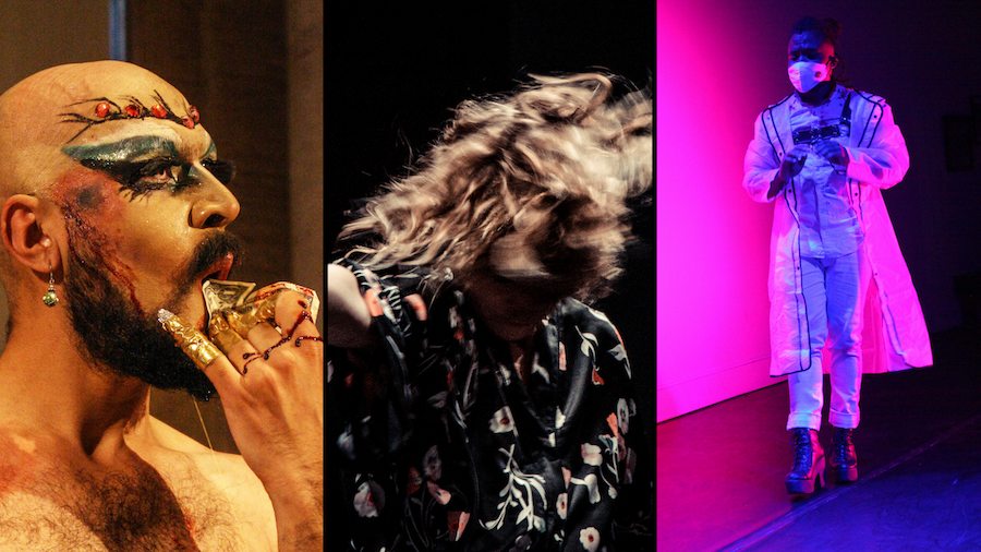 A collage of three photos: Zulfi in drag makeup with fake blood on her face and hands, wiping her mouth with a bloody dollar bill; Crain dancing fiercely, visible from the waist up and her hair covers her face