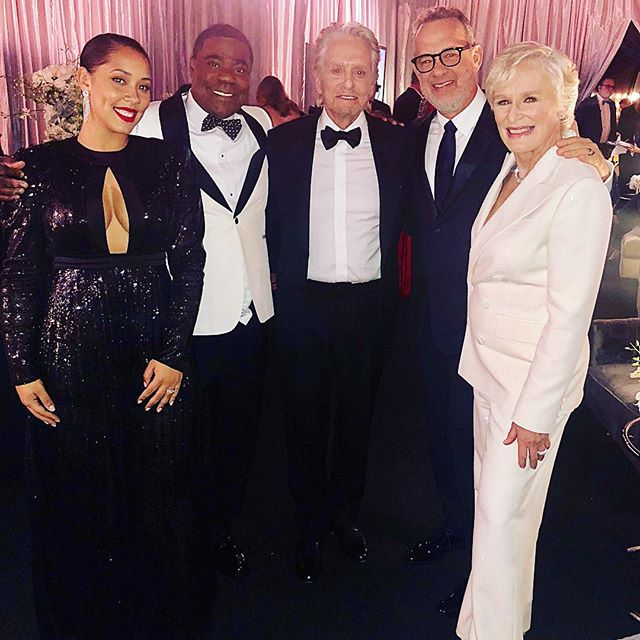 Now who wouldn't go see a movie with THIS cast??!? Let's make it happen Hollywood! Me and my wife @iammeganmorgan hanging with a few other OG's! #michaeldouglas #tomhanks #glennclose @sagawards