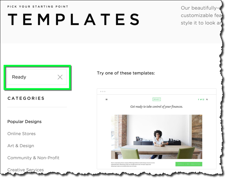 Pick a Template - The color scheme and font family of the