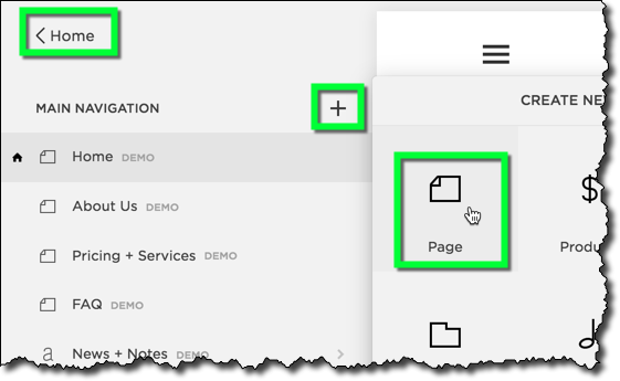 Create a New Page -
